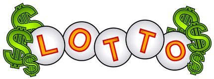 Lotto Cash Lottery Balls Sign Stock Images