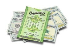 Lotto Cash Pile. Winning Lottery Ticket and Cash Isolated on White Background stock photos