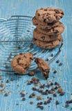 Lotto dei biscotti con le gocce di cioccolato Fotografia Stock