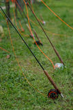 Lotto dei coni retinici di pesca della mosca fotografie stock libere da diritti