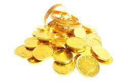 Lotto delle monete di oro Fotografia Stock