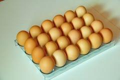 Lotto delle uova in una fila, rotante da 45 gradi Immagini Stock Libere da Diritti