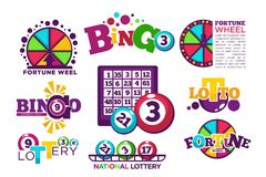 Lotto di bingo o modelli nazionali di logo di lotteria messi Immagini Stock