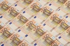 Lotto di soldi una banconota dai cinquanta euro Immagini Stock Libere da Diritti