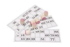 lotto för bingokortgyckel Arkivfoto