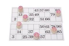 lotto för bingokortgyckel Fotografering för Bildbyråer