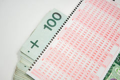 Lotto form of the Polish currency Stock Photography