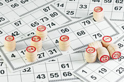 Lotto game. Tabletop lotto game with cards and barrel Stock Photo