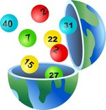 Lotto globe. An open globe of the world with lottery balls coming out of it stock illustration
