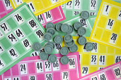 Lotto. Multicolored cards and chips to play the lotto Stock Photo