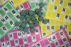 Lotto. Multicolored cards and chips to play the lotto Royalty Free Stock Image