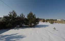 Lotto nell'inverno Costruzione di una casa privata Recinto sulla terra nell'inverno Immagini Stock Libere da Diritti