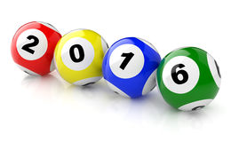 2016 lotto. New Years 2016 lottery balls 3d render Royalty Free Stock Photo
