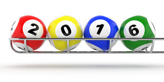 2016 lotto. New Years 2016 lottery balls 3d render Stock Photography