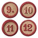 Lotto nummeriert neun zehn elf zwölf lizenzfreie stockfotos