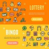 Lotto Signs Banner Horizontal Set. Vector royalty free illustration