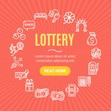 Lotto Signs Round Design Template Line Icon Concept. Vector royalty free illustration