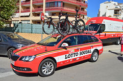 Lotto Soudal Team Car And Bikes Stock Images