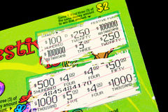 Lotto ticket. Lotto scratch ticket on black background Royalty Free Stock Image