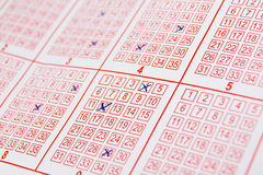 Lotto ticket with ticked 1 Stock Photos