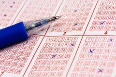 Lottobiljett med tickade 2 Fotografering för Bildbyråer