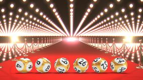 Lottobollar med exponera ljus och röd matta stock video