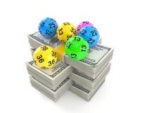 Lottobollar på bunt av pengar vektor illustrationer