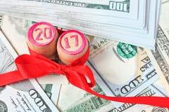 Lottokaggar med gåvabandet Arkivfoton