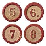 Lottot numrerar fem sex sju åtta Arkivbilder