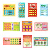 Lottsedlar för illustration för uppsättning för jackpott för lek för lotto för möjlighet för seger för kort för bingo för lottsed stock illustrationer