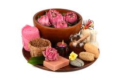 Lotus γύρης, λουλούδι Lotus και σαπούνι, χειροποίητο soaps spa λουλούδι της Ταϊλάνδης Στοκ φωτογραφίες με δικαίωμα ελεύθερης χρήσης