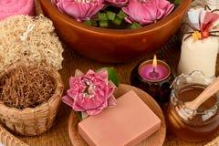 Lotus γύρης, λουλούδι Lotus και σαπούνι, χειροποίητο soaps spa λουλούδι της Ταϊλάνδης Στοκ Εικόνες
