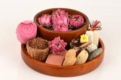 Lotus γύρης, λουλούδι Lotus και σαπούνι, χειροποίητο soaps spa λουλούδι της Ταϊλάνδης Στοκ Φωτογραφίες