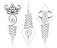 Lotus και ιερή γεωμετρία Ινδό σύμβολο Unamole της φρόνησης και του PA ελεύθερη απεικόνιση δικαιώματος