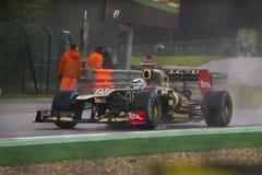 Lotus. Driver Kimi Raikkonen practices around Spa, Frncorchamps '12 Stock Photo