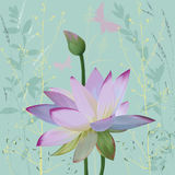 Lotus. Pink lotus over abstract background with silhouettes plants. Vector illustration. EPS8 Royalty Free Stock Photos