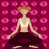 Lotus. Woman in yoga meditation position in front of a colorful lotus flower pattern Stock Photos