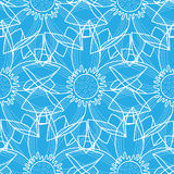 Lotus Abstract Blue Seamless Pattern Stock Foto's