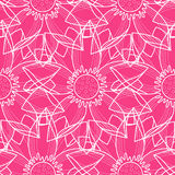 Lotus Abstract Pink Seamless Pattern Photo stock