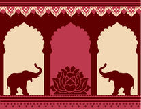 Lotus And Elephant Temple Background Royalty Free Stock Images