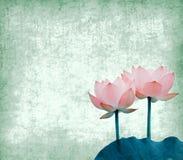 Lotus avec l'ensemble d'abstrait peint Images stock