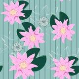 Lotus Background Blom- modell med rosa näckrors Sömlöst nenuphar gulligt stock illustrationer
