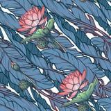 Lotus Background El modelo inconsútil floral con los lirios y el plátano de agua se va en el fondo blanco Ritmo diagonal Imagen de archivo