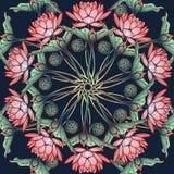 Lotus Background Estampado de flores circular con los lirios de agua en un fondo azul profundo Fotografía de archivo libre de regalías