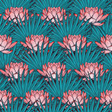 Lotus background. Floral seamless pattern with water lilies and fan palm tree leaves on deep blue background. Royalty Free Stock Photo