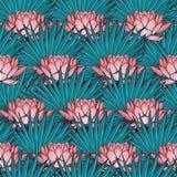 Lotus Background Le modèle sans couture floral avec les nénuphars et le palmier de fan part sur le fond bleu profond Photo libre de droits