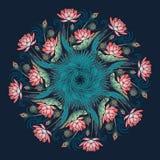 Lotus Background Ornamento decorativo floral del vector Los lirios de agua palmera y las hojas del plátano arrenged en guirnalda  Fotos de archivo