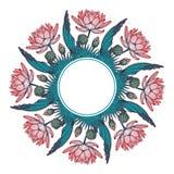 Lotus Background Ornement décoratif floral de vecteur Les nénuphars palmier et les feuilles de banane arrenged en guirlande circu Photos libres de droits