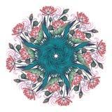 Lotus Background Ornement décoratif floral de vecteur Les nénuphars palmier et les feuilles de banane arrenged en guirlande circu Images stock