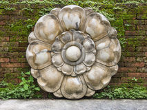 Lotus bas-relief on wall Stock Image